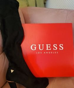 GUESS black suede over the knee boots